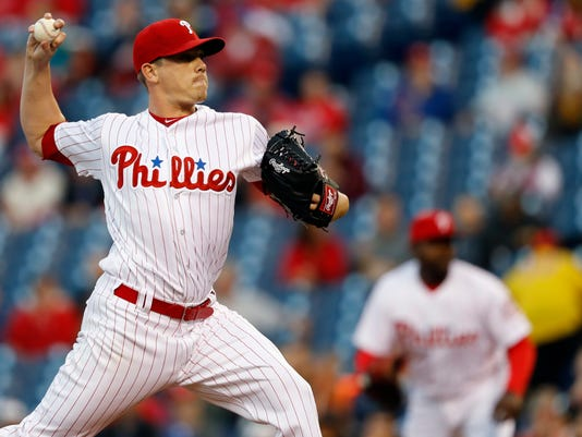Philadelphia Phillies starting pitcher Jeremy Hellickson throws during the first inning of a baseball game against the Washington Nationals, Friday, April 15, 2016, in Philadelphia. (AP Photo/Matt Slocum)