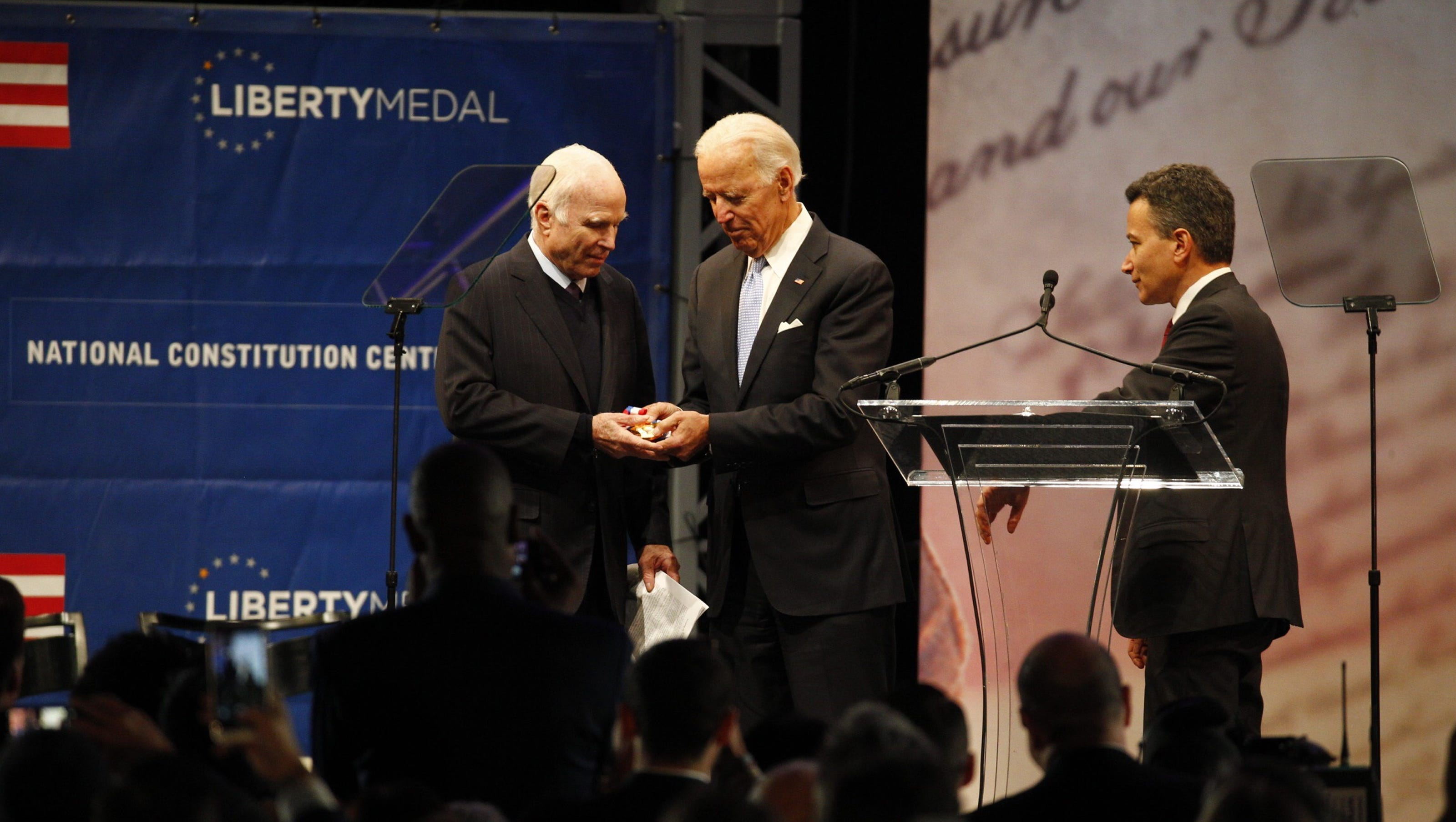Image result for McCain being awarded liberty medal