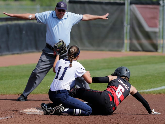 Appleton North's Lydia Krueger is a little late with