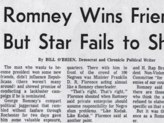 A Democrat and Chronicle headline reporting on George Romney's visit in 1967.