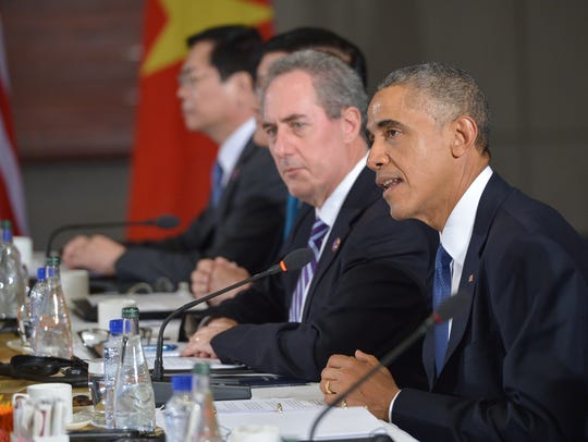 US President Barack Obama speaks during a meeting with