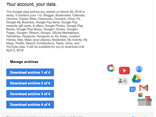 Google sent me an email with four files several hours