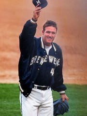 Steve Woodard waves to the fans at County Stadium on July 28,1997, in Milwaukee. In his Major League debut, Woodard struck out 12 batters, giving the Brewers a 1-0 victory over the Toronto Blue Jays.