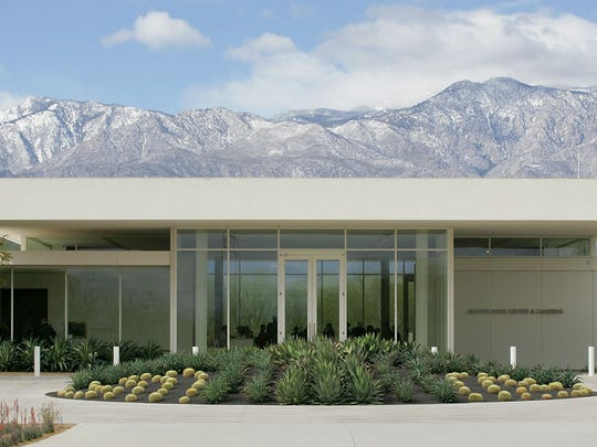 The Sunnylands Center and Gardens with a backdrop of snow-capped mountains in February 2013.