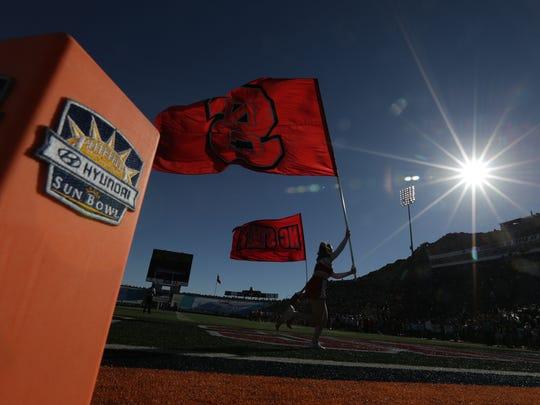 North Carolina State cheerleaders celebrate a first-half