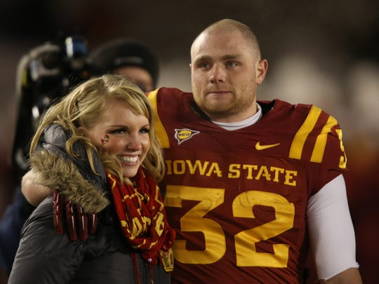 Iowa State running back Jeff Woody and his wife, Hannah,