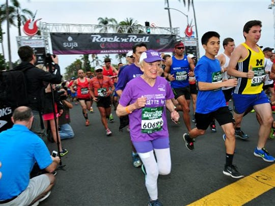 In this June 1, 2014 photo, Harriette Thompson, then 91, starts the 2014 Suja Rock 'n' Roll Marathon in San Diego, which she completed. Thompson is scheduled to compete in the 2015 edition in San Diego on Sunday, May 31, 2015. If she completes the race she would become, at age 92, the oldest woman to ever complete a marathon.