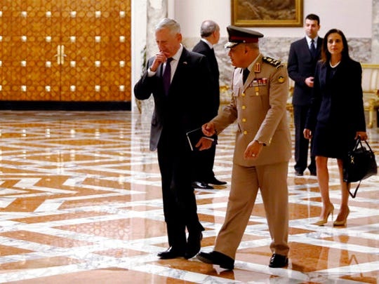 U.S. Defense Secretary James Mattis, left, walks with Egypt's Minister of Defense Sedki Sobhi to meet with Egypt's President Abdel Fattah el-Sissi, at the Ittihadiya Presidential Palace, in Cairo, Egypt, Thursday April 20, 2017.