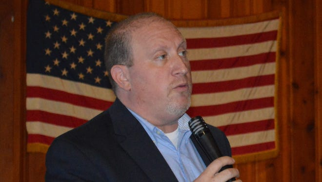 State Assembly candidate Andrew Falk spoke at the Ossi Club in Mahopac Sunday.