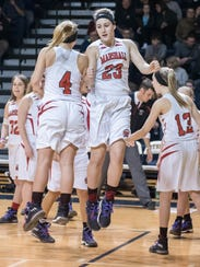 Marshall's Taylor Horn (4) and Nikki Tucker (23) during