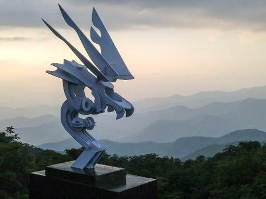 David Shelton's sculpure work includes Accipiter (The Hawk),