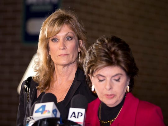 Cosby accuser Judy Huth and her lawyer, Gloria Allred, right, in Los Angeles in December 2014.