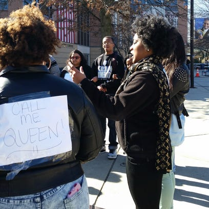 Kayla-Simone McKelvey during a protest on March 12