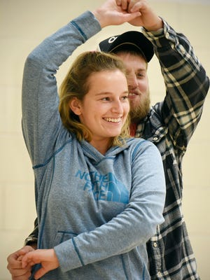 Brandon Sundberg spins partner Brittney Boatman during a swing dancing class Tuesday at the McKinley Area Learning Center in Waite Park.