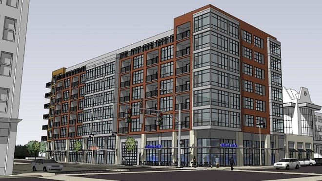 A multistory apartment building, to be called Metreau, is planned for the northwest corner of Walnut and Washington streets.