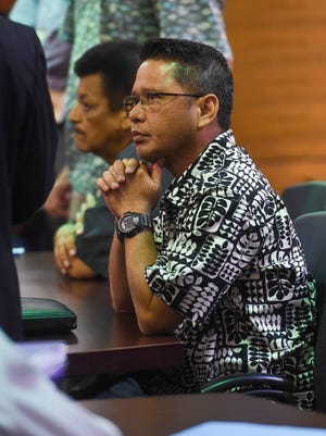 In this Oct. 9, 2017 file photo, former Department of Corrections Lt. Jeffrey Limo listens during his court hearing at the Superior Court of Guam in Hagåtña.