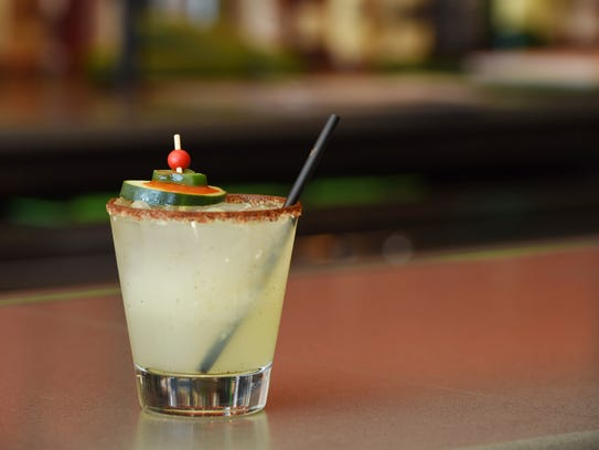 A spicy cucumber margarita at Baja 328 Tequila Bar