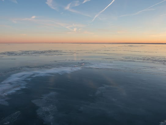 A view of a thin layer of ice covering the Tangier