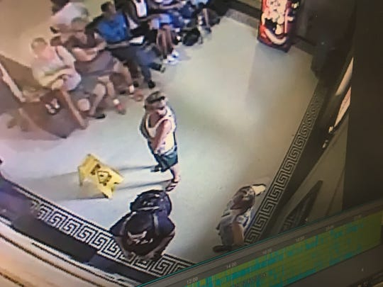 This image from a surveillance camera at the Greyhound