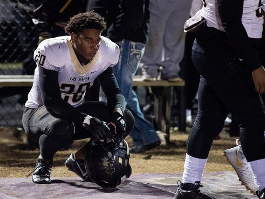 Whitehaven's Bryson Eason (20) reacts after their Class