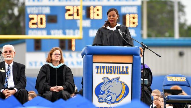 Titusville High School principal Annetha Jones speaks to the crowd at last year's school graduation.