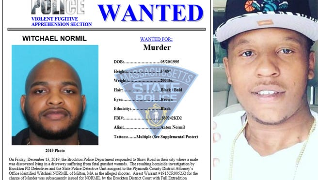 The Massachusetts State Police Violent Fugitive Apprehension Section announced Wednesday, July 8, 2020, that they are adding Witchael Normil (left), 25, of Milton, to the state police most wanted list. Normil is being charged with murder for the fatal shooting of 26-year-old Marshawn Potts (right) on Dec. 13, 2019, in his driveway on Shaw Road in Brockton.