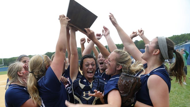 Lacey Twp. players and fans celebrate after winning the  South Jersey, Group III championship softball game against Mainland at Lacey High School. Lacey Twp.,NJ. Thursday, June 2, 2016. Noah K. Murray-Correspondent/Asbury Park Press ASB 0603 lacey softball state championship