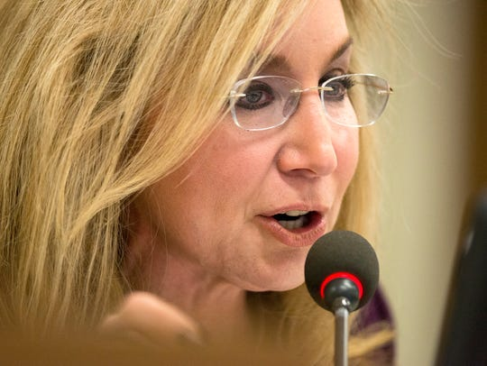 Commissioner Heidi Shafer, who feuded with county Mayor Mark Luttrell, speaks during a Shelby County Board of Commissioners committee meeting in November.