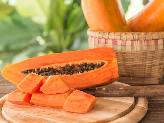 Papaya fruit sliced ​​and placed on a piece of