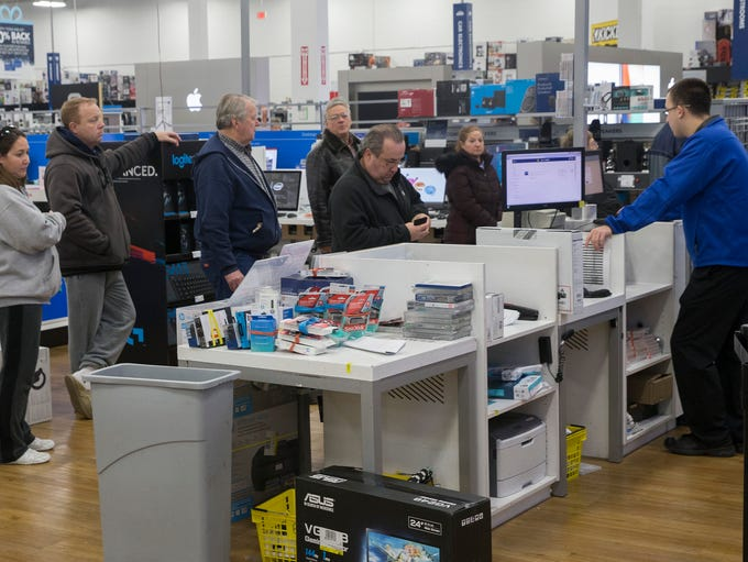 Shoppers waited to be first in line when Best Buy in