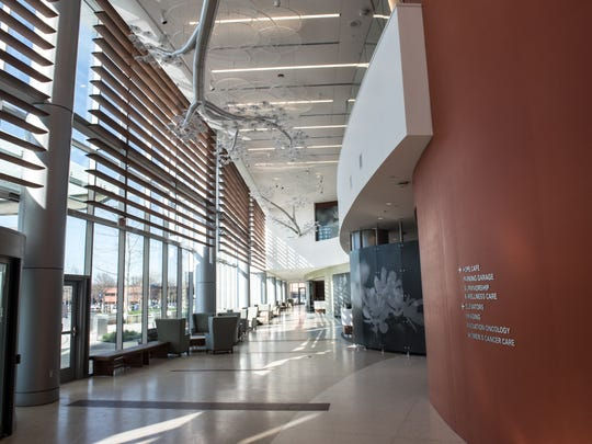 Jersey Shore University Medical Center is soon to unveil its new 10-story tower. This is the main lobby.  /Russ DeSantis for the Asbury Park Press