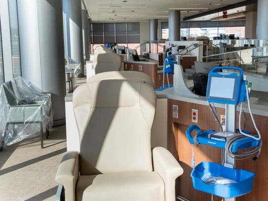 Jersey Shore University Medical Center is soon to unveil its new 10-story tower. Pictured is the Infusion Center for cancer patients. / Russ DeSantis for the Asbury Park Press