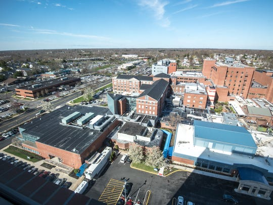 Jersey Shore University Medical Centeris soon to unveil its new 10-story tower. This is 10th floor view of the hospital complex.  /Russ DeSantis for the Asbury Park Press