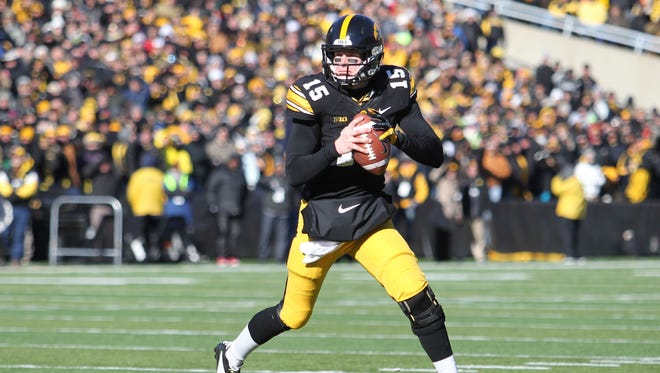 Iowa Hawkeyes quarterback Jake Rudock.