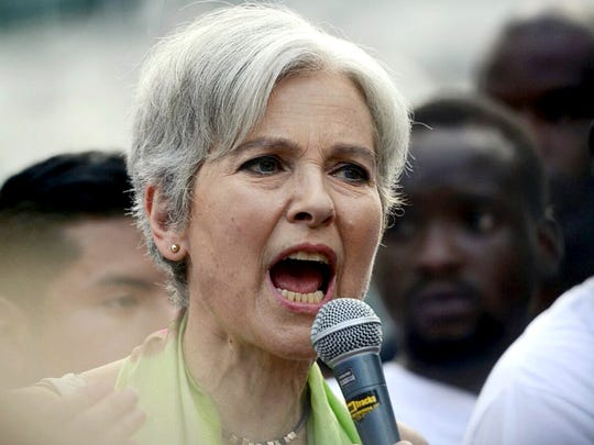 Green Party candidate Jill Stein speaks at a rally