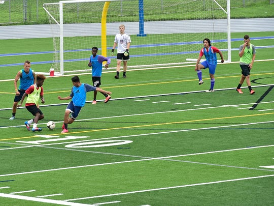 Open summer soccer drills are held Tuesday, July 25,