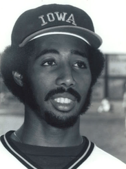 Harold Baines poses for a picture while with the Iowa