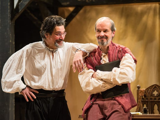 "David Cecsarini (left) and Mark Ulrich find something amusing in ""Equivocation,"" which concludes its run with Next Act Theatre Sunday."