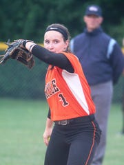 Ryle shortstop Maclai Branson warms up during Conner's 8-7 win over Ryle in the 33rd District softball semifinals May 25, 2017 at Notre Dame Academy.