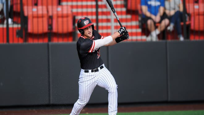 Kaleb Duckworth takes an at-bat for Western Kentucky against Jacksonville State on Feb. 24 at Nick Denes Field.