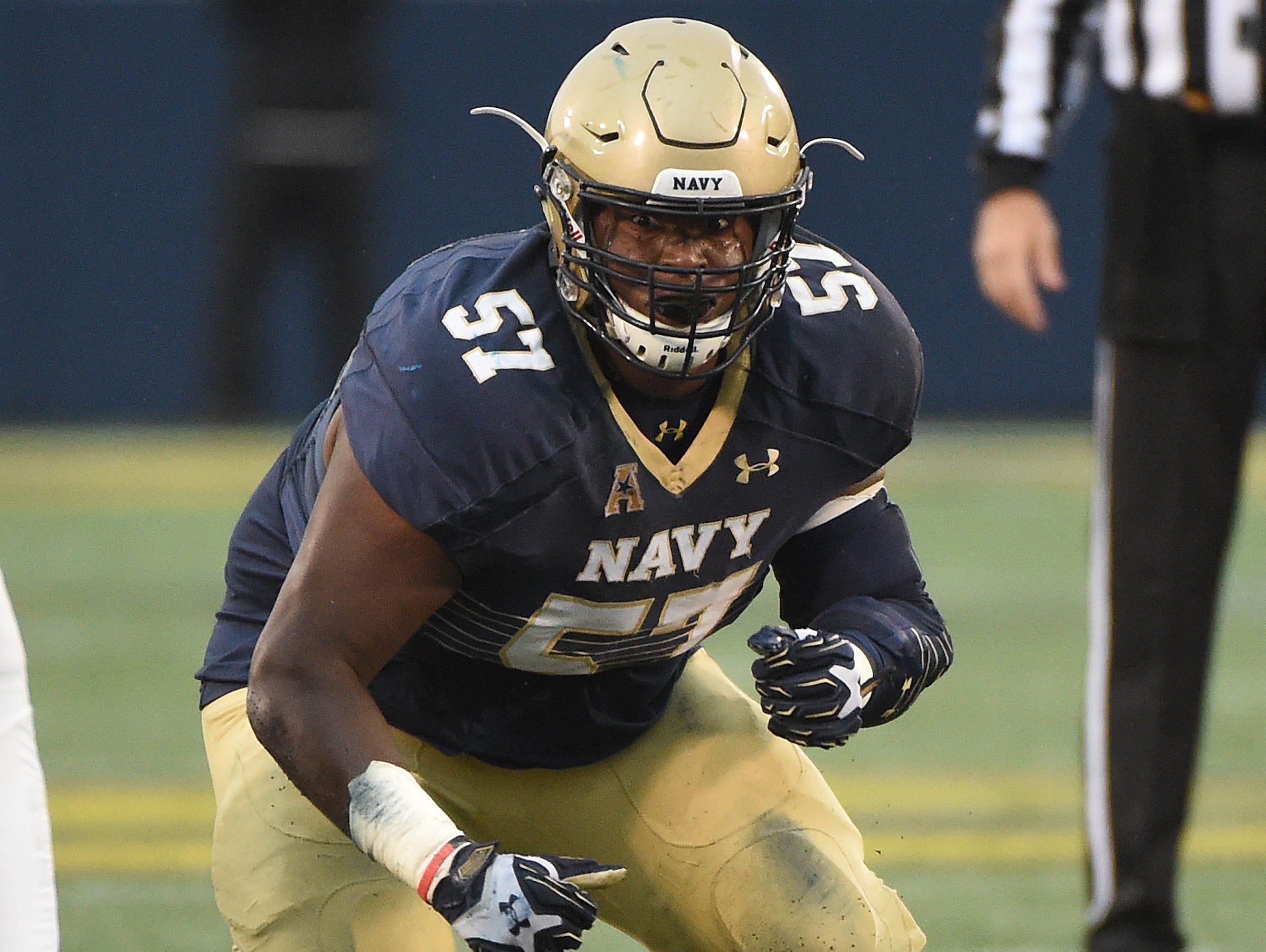 Navy senior offensive lineman E.K. Binns has been a key player for the Midshipmen.