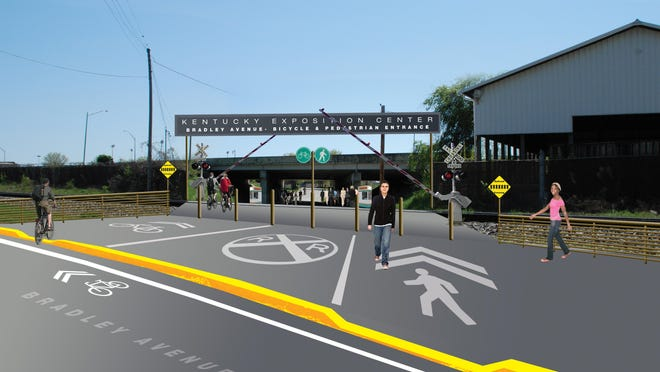 John Mahorney, a cyclist and graphic artist, said one long-term solution would be to reopen the old Bradley Avenue entrance on the north side of the fairgrounds to pedestrians and bicyclists. It once was the pedestrian access to University of Louisville basketball games at Freedom Hall but a railroad crossing there has been eliminated. Mahorney has depicted what a new pedestrian and bike access there could look like in an artistic rendering.