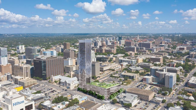 Andrew Childers and Patton Jones with Newmark Knight Frank are marketing a full city block in downtown Austin for owner Cielo Property Group. Known as Block 87, the site is bounded by Seventh, Eighth, Trinity and Neches streets. Cielo bought the property in 2018 from the Episcopal Church.