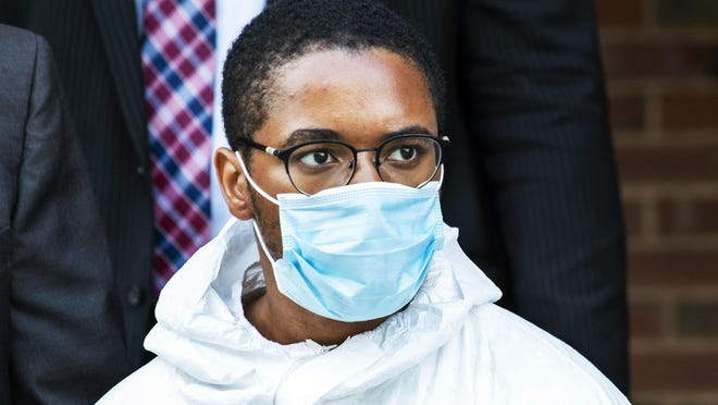 Tyrese Devon Haspil, 21, is walked out of NYPD 7th precinct after been charged with second-degree murder in the death of the 33-year-old tech CEO Fahim Saleh, Friday, July 17, 2020, in New York.