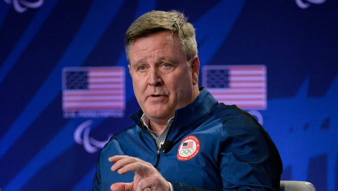 USOC CEO Scott Blackmun speaks during a press conference at the 2016 Team USA Media Summit in Los Angeles on March 7.