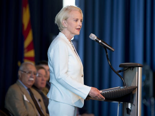 Cindy McCain speaks during the Rio Reimagined meeting at the Tempe Center for the Arts on March 30, 2018.