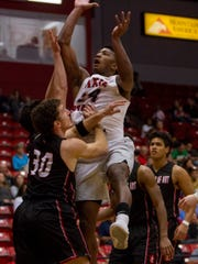 Dixie State's Trevor Hill goes to the basket during the Trailblazers' Dec. 2 game against Academy of Art in St. George.