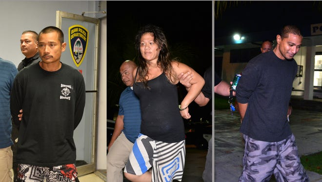 Three people were arrested Friday, Nov. 18, on suspicion of involvement with robberies of two game rooms, Guam Police Department said. From left: Herman Fejeran Flores, Anastacia P. Quinata and William Gnafrin Yamnang.