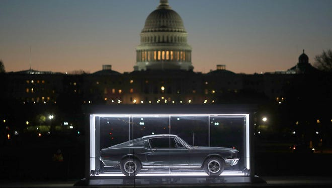The 1968 Mustang that Steve McQueen drove in the1968 movie 'Bullitt' is on display on the National Mall, on April 18, 2018 in Washington, DC.