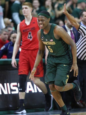 Cassius Winston celebrates in the second half of the No. 1 Spartans' 91-61 win over Maryland on Thursday in East Lansing.